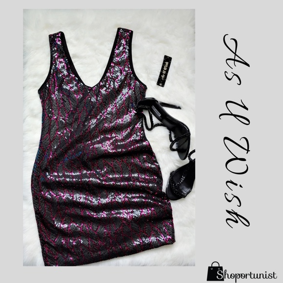 As You Wish Dresses & Skirts - Black & Fuchsia Sequin Dress
